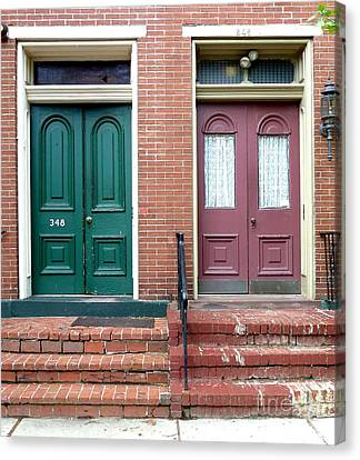 Twin Doors Canvas Print by Sally Simon