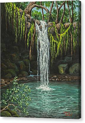 Pool In Cave Canvas Print - Twin Falls by Darice Machel McGuire