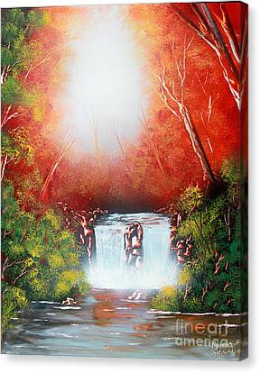 Canvas Print featuring the painting Twin Falls  by Greg Moores