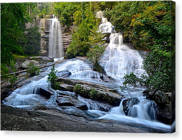 Twin Falls South Carolina Canvas Print by Frozen in Time Fine Art Photography