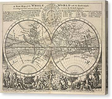 Corrected Canvas Print - Twin-hemisphere World Map by British Library