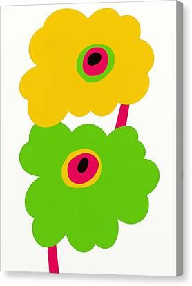 Fuschia Canvas Print - Twin Mod Flowers Two by Marlene Kaltschmitt