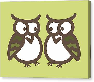 Twin Owl Babies- Nursery Wall Art Canvas Print