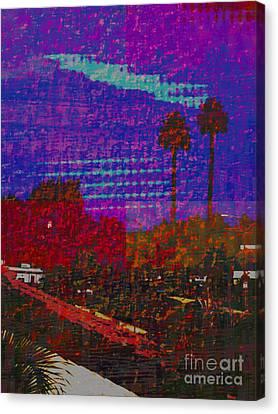 Twin Palms Purple Haze Canvas Print by J Burns