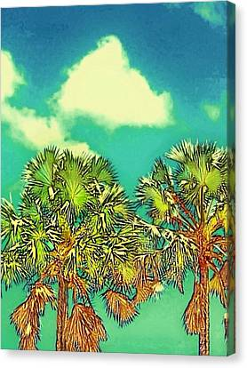 Twin Palms With Aqua Sky - Vertical Canvas Print