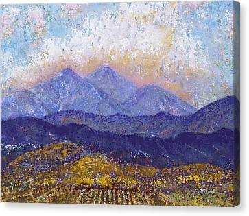Canvas Print featuring the painting Twin Peaks Above The Fruited Plain by Margaret Bobb