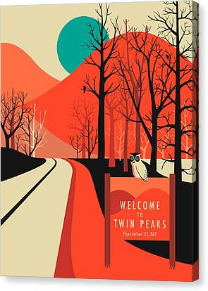 Twin Peaks Travel Poster Canvas Print by Jazzberry Blue