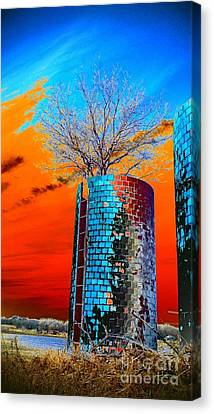 Canvas Print featuring the photograph Twin Silos by Karen Newell