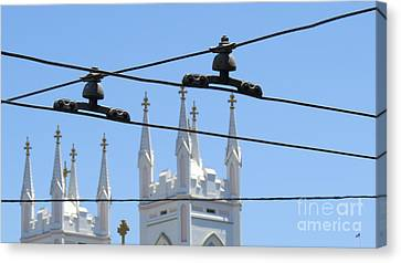 Twin Spires And Trolley Lines Canvas Print by Mary Mikawoz