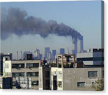 Canvas Print featuring the digital art Twin Towers Burning by Steven Spak