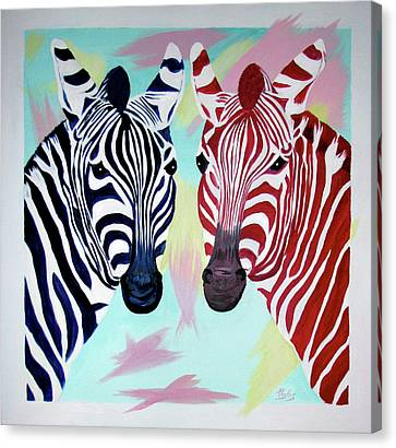 Canvas Print featuring the painting Twin Zs by Phyllis Kaltenbach