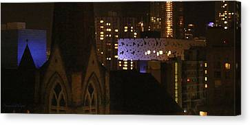 Twinkling City Canvas Print by Yvonne Wright