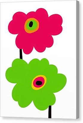Fuschia Canvas Print - Twins Mod Flowers by Marlene Kaltschmitt