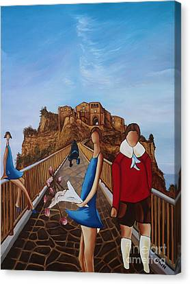 Twins On Bridge Canvas Print by William Cain
