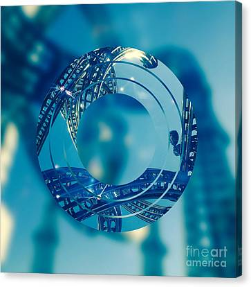 Twisting Blue Steel Canvas Print by Beverly Claire Kaiya