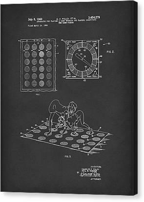Twisting Game 1969 Patent Art Black Canvas Print