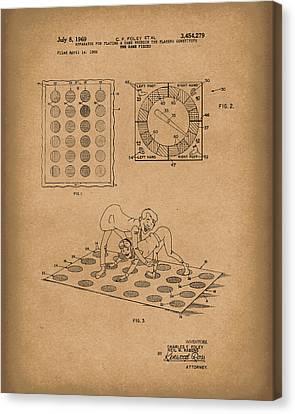 Twisting Game 1969 Patent Art Brown Canvas Print