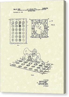 Twisting Game 1969 Patent Art Canvas Print by Prior Art Design