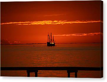 Canvas Print featuring the photograph Two 3-masted Schooners Sail Off Into The Santa Rosa Sound Sunset by Jeff at JSJ Photography