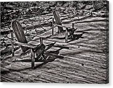 Canvas Print featuring the photograph Two Adirondack Chairs In B/w by Greg Jackson