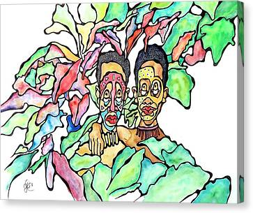 Two African Men In Leaves Canvas Print