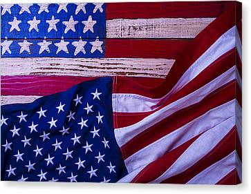 Two American Flags Canvas Print by Garry Gay