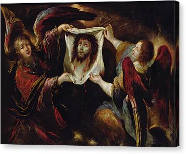 Two Angels Presenting The Holy Face  Canvas Print by Claude Vignon