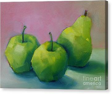 Two Apples And One Pear Canvas Print