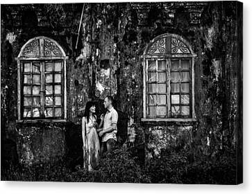 Two At The Old Wall 1. Margao. India Canvas Print