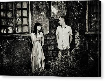 Two At The Old Wall. Margao. India Canvas Print by Jenny Rainbow