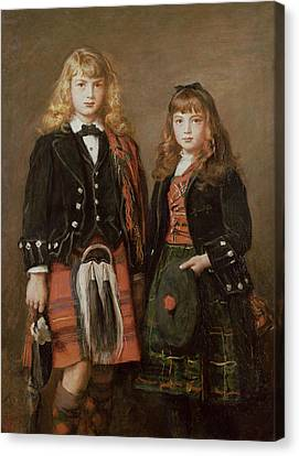 Two Bairns Oil On Canvas Canvas Print