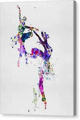 Two Ballerinas Dance Watercolor Canvas Print by Naxart Studio