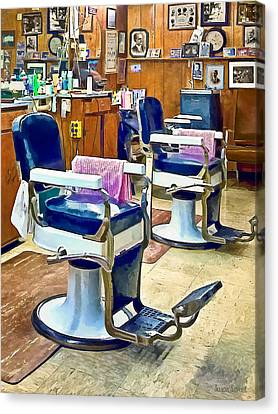 Barberchairs Canvas Print - Two Barber Chairs With Pink Striped Barber Capes by Susan Savad