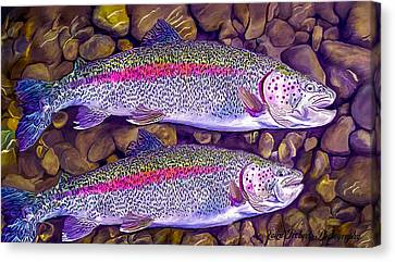 Two Beauties - Trout Canvas Print by Laird Roberts