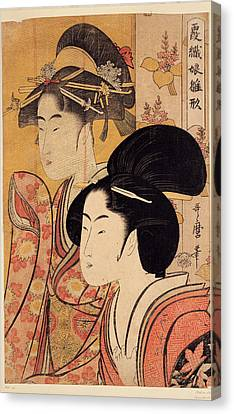Two Beauties With Bamboo Canvas Print by Georgia Fowler