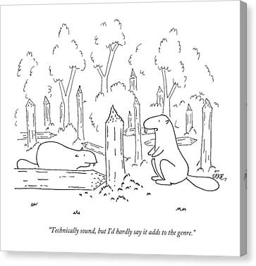 Two Beavers Assess A Fallen Tree Trunk Canvas Print
