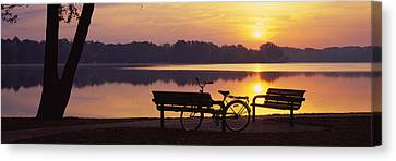 Two Benches With A Bicycle Canvas Print