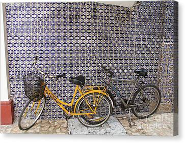 Two Bicycles At The Hotel Belmar Canvas Print by Linda Queally