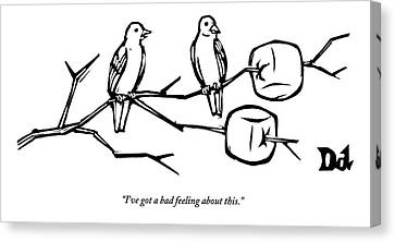 Two Birds Perch On A Branch That Has Marshmallows Canvas Print by Drew Dernavich