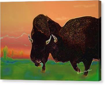 Two Bison Canvas Print by Kae Cheatham