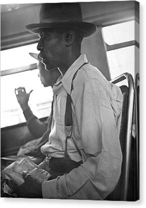 Two Black Men On A Bus Canvas Print by Underwood Archives