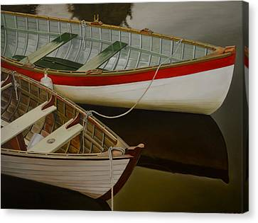 Canvas Print featuring the painting Two Boats by Thu Nguyen