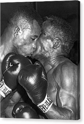 Two Boxers In A Clinch Canvas Print by Underwood Archives