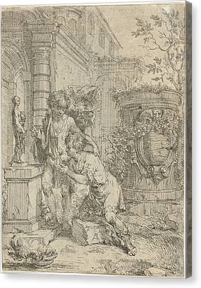 Two Boys At Statuette Of Venus, Lodewijk De Deyster Canvas Print