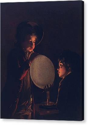 Two Boys By Candlelight, Blowing Canvas Print by Joseph Wright of Derby