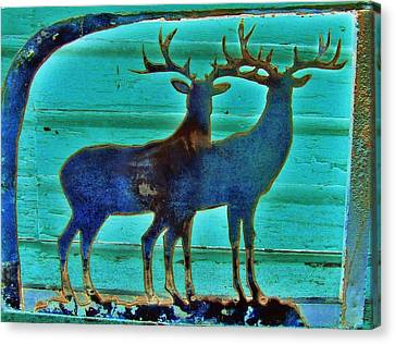 Canvas Print featuring the pyrography Two Bucks by Larry Campbell