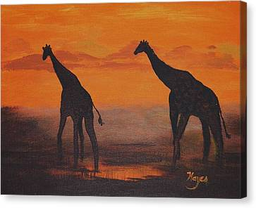 Canvas Print featuring the painting Two By Two by Barbara Hayes