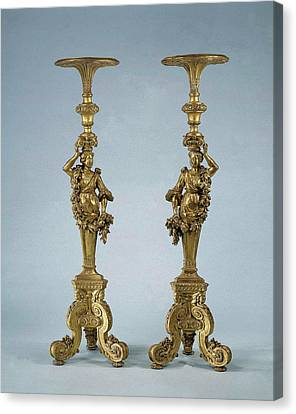 Two Candle Stands Torchères, Anonymous Canvas Print
