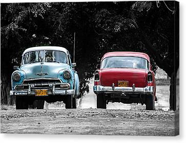 Two Cars Passing Canvas Print by Patrick Boening