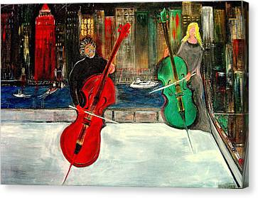 Two  Cello Players  Rooftop  Canvas Print